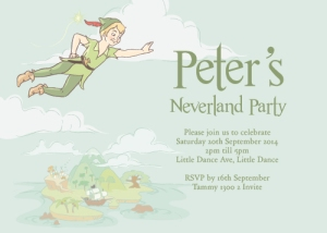Peter Pan themed kids party invitation design