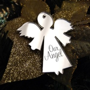 Angel themed personalised Christmas tree decoration